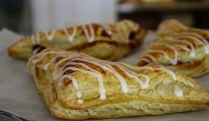 apple turnovers with white icing drizzle