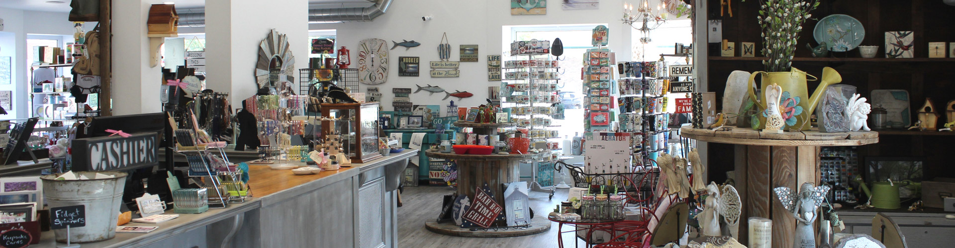 Interior of gift shop with lots of items