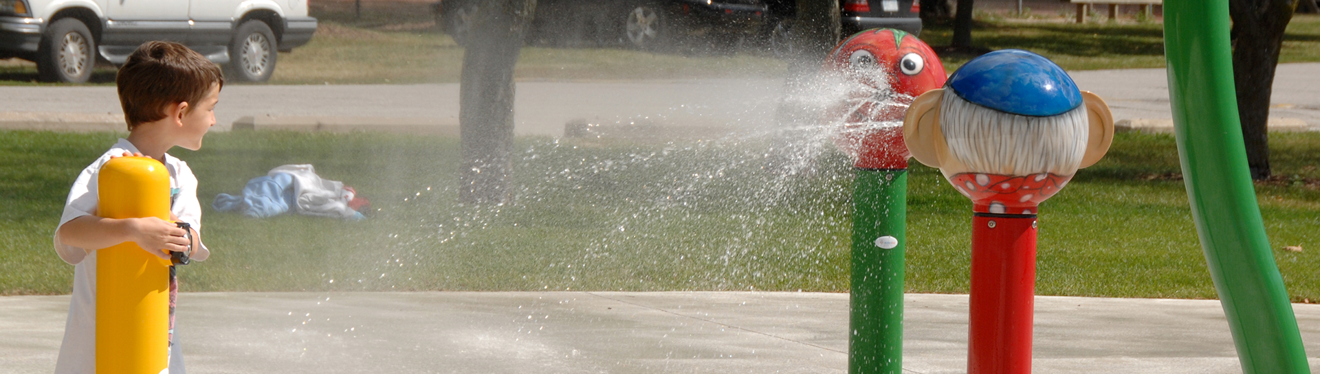 Water spurting out of splash pad equipment