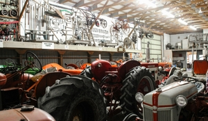 old tractors in a museum